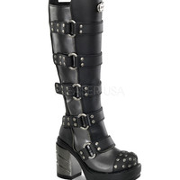 Demonia Strap Studded Knee Boots