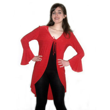 Vintage 90s Red Duster Jacker Top Shirt Bell Sleeves Tie Spice Girls Britney Spears Stevie Nicks Club Kid Small