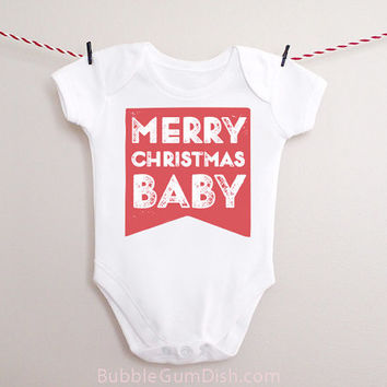 Merry Christmas Baby Bodysuit Bunting Banner Flag OnePiece Holiday Baby Outfit for New Babies & Toddlers
