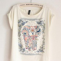 Cotton T-shirt with Walking Elephant Print GRQ349 from topsales