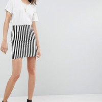 ASOS Tailored Mini Skirt in Mono Stripe at asos.com