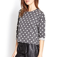FOREVER 21 Heathered Polka Dot Pullover Grey/White