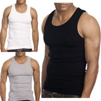 2015 Muscle Men Top Quality Premium Cotton A Shirt Wife Beater Ribbed Tank Top