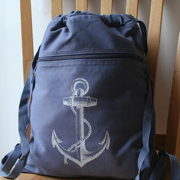 Blue Anchor Backpack Canvas Screen Printed by catbirdcreatures