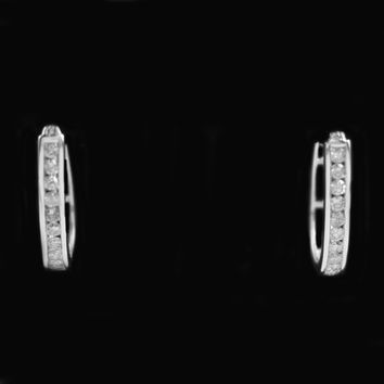 SPECIAL! Channel Set 1cttw Round Diamond Oval Hoops in 10K Yellow or White Gold