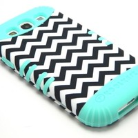 Samsung Galaxy S3 S III I747 Hybrid Impact Dual Layer Case Black White Chevron Mint Blue Skin Cover