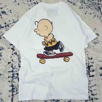 VANS 2018 new three-hair skateboard cartoon design with a fine print T-shirt short sleeves F-AG-CLWM