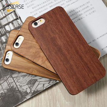 KISSCASE Real Wooden Case For iPhone 5 5s SE 7 6 6s Plus Hard PC Edge + Bamboo Wood Cover For iPhone 8 8 Plus X SE 5 5S Coque