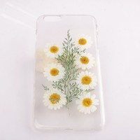 Case for iPhone 5c White Daisies Real Flowers Pressed Flowers