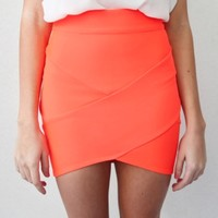 NEON ORANGE BANDAGE WRAP TUBE DISCO SKIRT 6 8 10 12