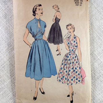 Vintage Pattern Advance 6432 new look Full skirt Rockabilly 1950s Bust 34 halter dress Marilyn Monroe Seven Year Itch Bolero Bombshell