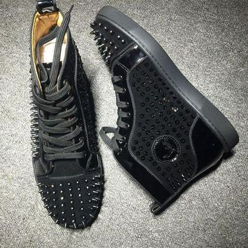 CREYNW6 Cl Christian Louboutin Louis Spikes Style #1835 Sneakers Fashion Shoes