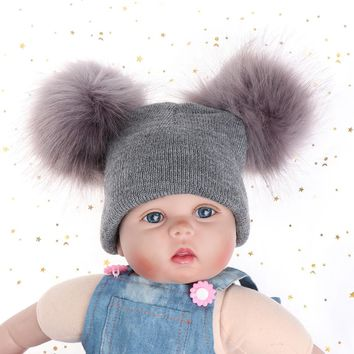 Toddler Hat 1-4Years Baby Kids Beanie Warm Winter Wool Knitted Earflap Hat with Raccoon Fur Pom Poms Baby Girls Boys Caps Hats Y