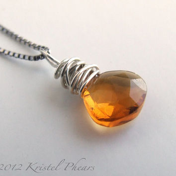 Citrine Necklace - Silver Pendant sterling natural gemstone orange Eco-friendly simple November Birthstone Bridesmaid gift