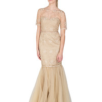 GOLD CORD BEADED EVENING GOWN