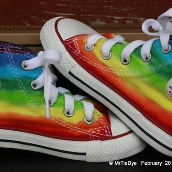 toddler sz 8 rainbow hand dyed converse hi top sneakers