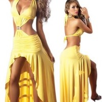 Sexy Long Yellow Dress - Latin Salsa Style - Medium