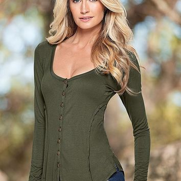 Button Detail Top in Olive | VENUS