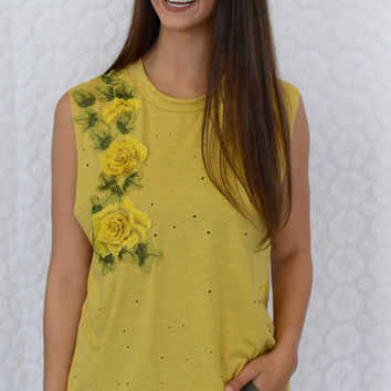Mustard Rose Patch Top