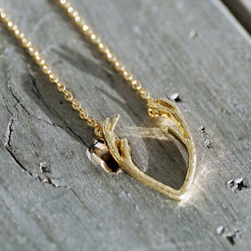 14k gold plated or silver plated nordic deer antlers pendant with chain, necklace (NE00031)
