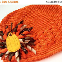 Orange Pumpkin Hat for Toddler - Fall Hat - Thanksgiving Hat - Harvest Hat for Girls - Fall Beanie Cap - Crochet Hat for Fall - Cute Hat