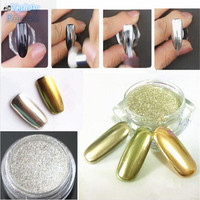 New 1g/Box Gold Sliver 2 Colors Mirror Glitter Powder For Nails Shinning Dust Nail Art DIY Chrome Pigment Nail Decoration Tools