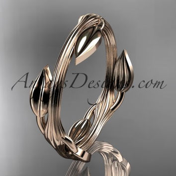 14kt rose gold leaf and vine wedding ring, engagement ring ADLR31A