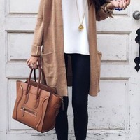 Casual Long Sleeve Pockets Knitting Long Sweater Cardigan