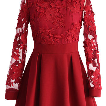 Vivid Flower Mesh Lace Skater Dress in Red Red