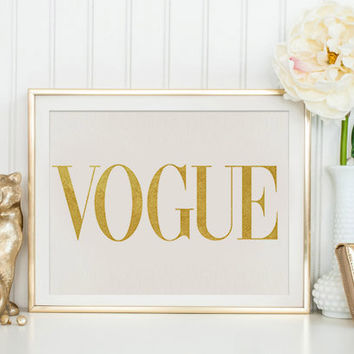 Fashion print Vogue Fashion Wall Art Vogue Yellow Gold Print Vogue Gold Poster Vogue Gold Print Poster VoguePoster Brand Vogue Wall Decor