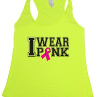 Women's I Wear Pink Breast Cancer Awareness Tri Blend Tank NEON YELLOW