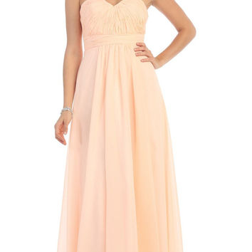 Simple Bridesmaids Long Dresses Strapless Sweetheart Ruched Bodice Corset Back Formal Gown