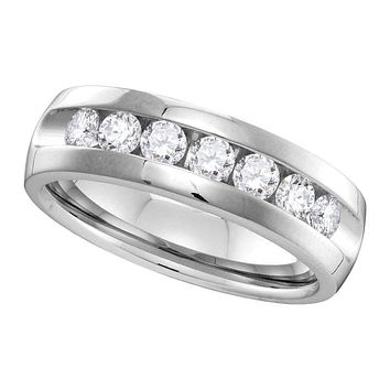 14kt White Gold Men's Round Channel-set Diamond Wedding Band Ring 1.00 Cttw - FREE Shipping (US/CAN)