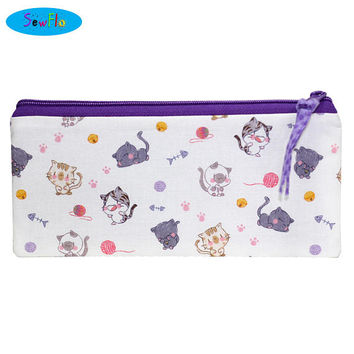 NEW! Cats Pencil Case-Chibi Cats Pencil Pouch-Kawaii Cats Zipper Bag-Cats and Yarn Bag