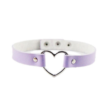 Lavender Leather Heart Choker