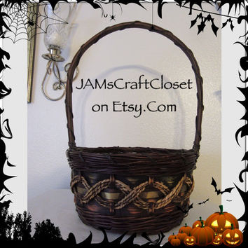Vintage Fall Basket-Gold Accents-Country Home Decor-Wedding Decor-Flower Girl Basket-Fall Wedding-Gathering Basket-Centerpiece-Gift Idea
