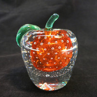 Vintage Murano Hand Blown Glass Red Clear Apple Glass Controled Bubble Paperweight