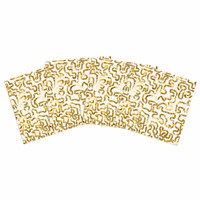 "Anneline Sophia ""Squiggles in Gold"" Yellow White Indoor/Outdoor Place Mat (Set of 4)"