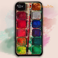 Watercolor iPhone 4 Case,  Watercolor painting Box, palette Design iphone hard case for iphone 4, iphone 4S
