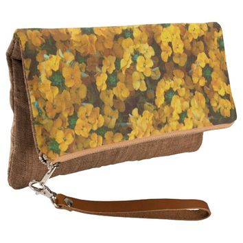 Orange Wallflower Floral Clutch