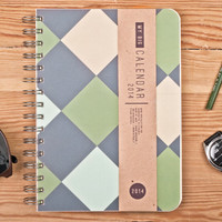 2014 Weekly Planner Calendar Diary Day Agenda Geometric A5 For Him Day Planner - Great St Patrick's Day Idea
