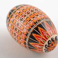 Unusual colorful handmade painted goose egg for Easter decor