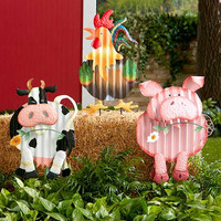 Garden Stake Corrugated Metal Farm Animal Cow Pig Rooster Lawn Yard Decor