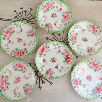 Dessert Plates Chintz Plates Pink and Mint Green Plates Floral Plates Hand Painted Japan Shabby Chic Decor Cottage Decor Cottage Plates