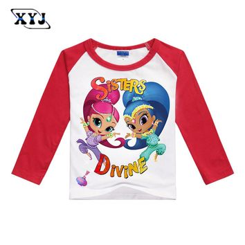 2017 Shimmer And Shine Costume Girls Long Sleeve T-shirt Patchwork T Shirt Casual Thin Cotton Tees School Girls Tops For Baby