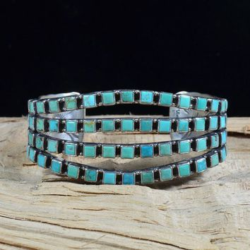 Native American Vintage Navajo Turquoise Cuff - Vivian Burns