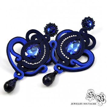 Long navy blue Dangle Earrings, Long blue Soutache Earrings, Long openwork Soutache Earrings, Unique navy blue Soutache Earrings, OOAK