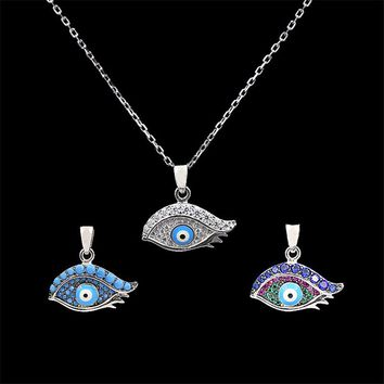 NJ New products 2017 100% sterling silver jewelry Turkish Evil spirits pendant blue eyes eyelashes zirconia  chain necklace