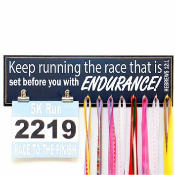 Keep running the race that is set before you with endurance Hebrews 12:1 - Religious race bib and running medal holder with clips