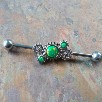 Opal Industrial barbell, 14G 316L Stainless Steel Steampunk, Gears Industrial Earrings with Green Fire Opal, Piercing Jewelry